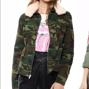 Camo Jacket with Pink Faux Fur